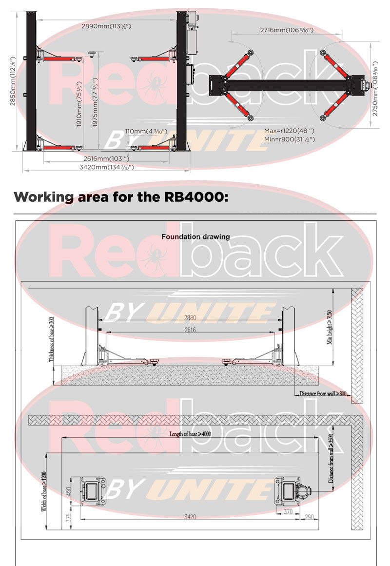 Redback RB4000 Two Post Vehicle Lift with Electric Locks