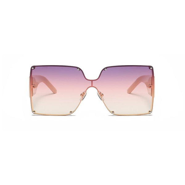 7 Colors Metal Square Frame Conjoined Lens Sunglasses