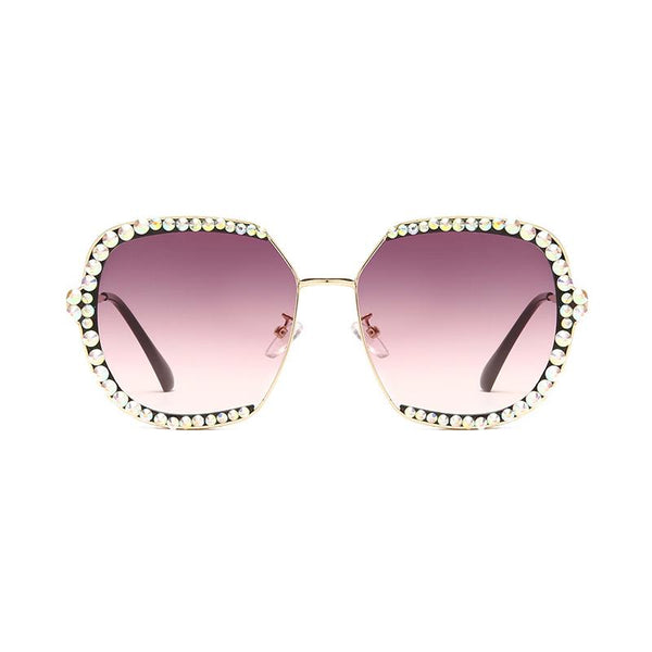 6 Colors 3 Edge Diamond Metal Frame Sunglasses