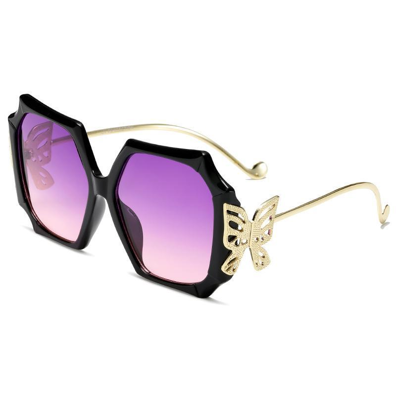 3 Colors Metal Butterfly Irregular Frame Sunglasses