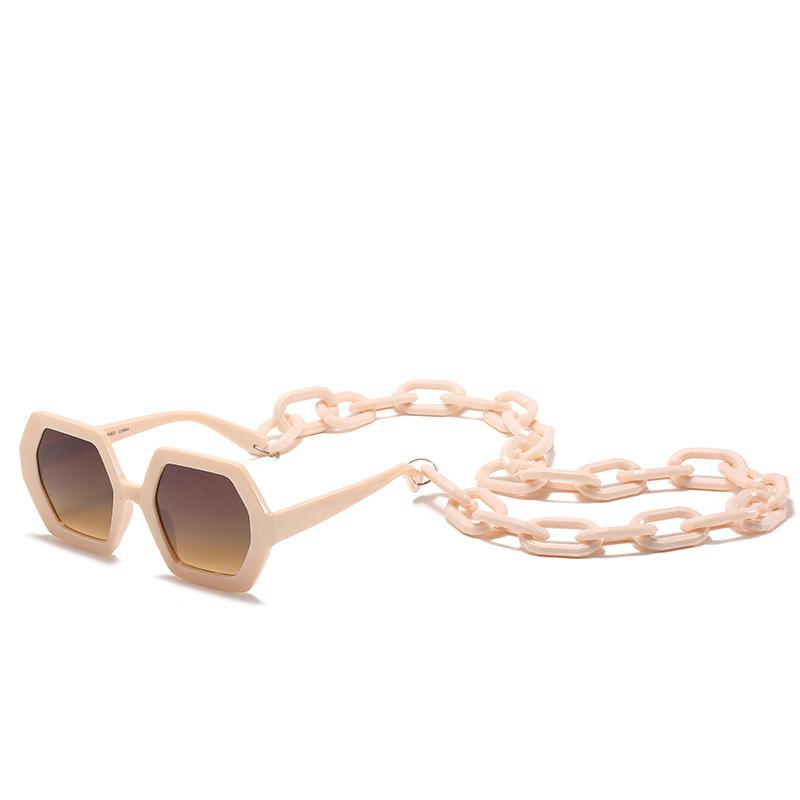 5 Colors Chain Accessories Polygon Sunglasses