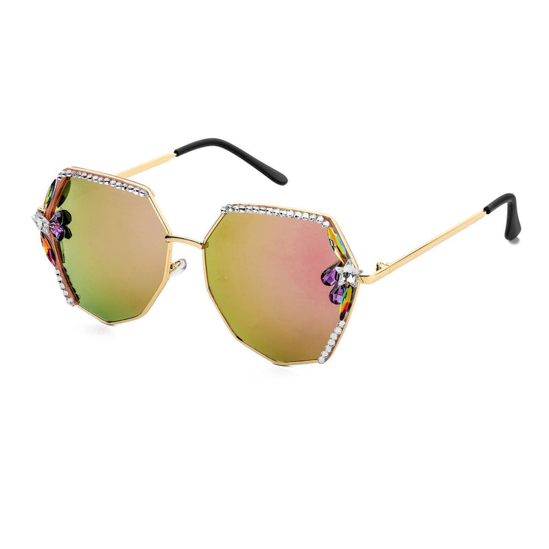 2 Colors Irregular Ocean Lens Luxury Diamond Sunglasses
