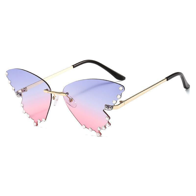 9 Colors Diamond Butterfly Shape Rimless Sunglasses