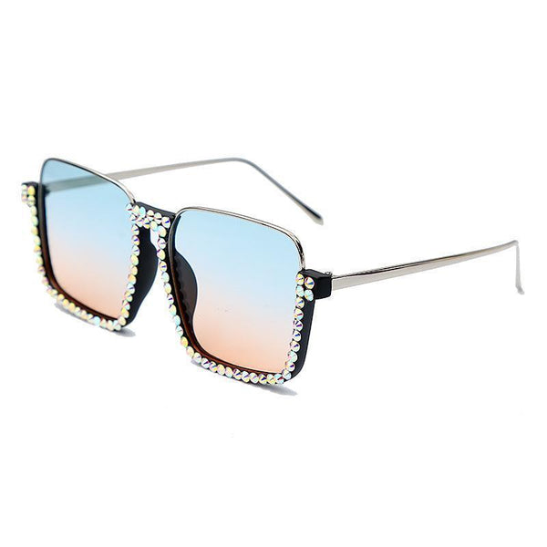 4 Colors Handmade Diamond Half Frame Sunglasses