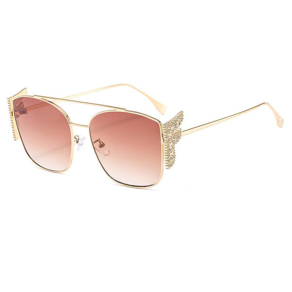 8 Colors Diamond Wings Metal Frame Sunglasses