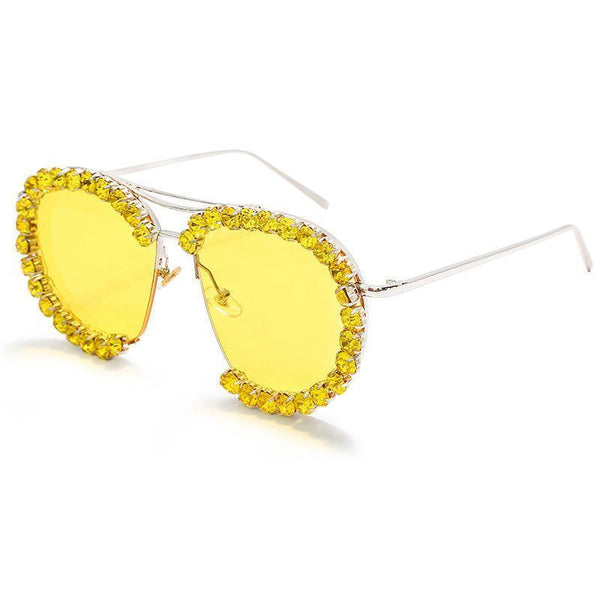 7 Colors Handmade Diamond Round Sunglasses