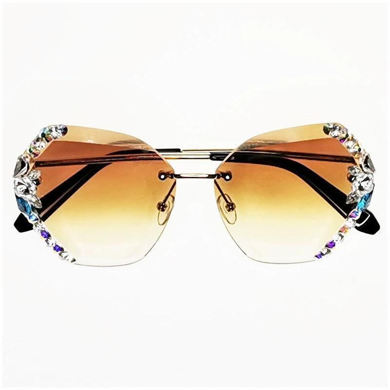 4 Colors Handmake Irregular Diamond Ocean Rimless Sunglasses