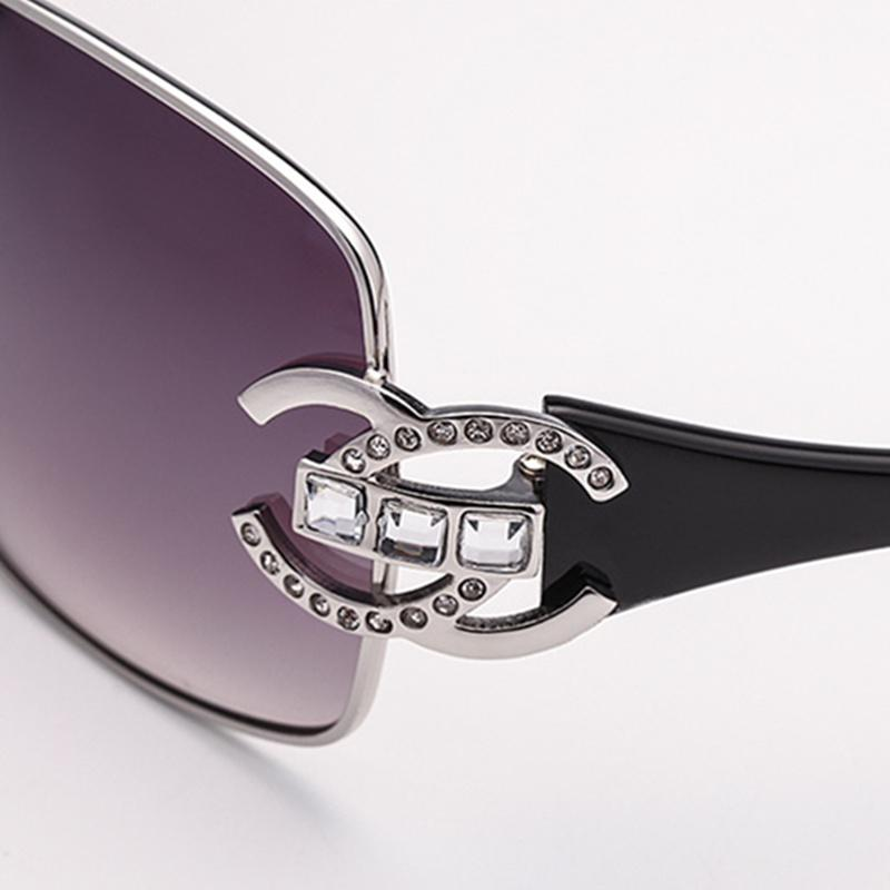 2 Colors Diamond Decoration Conjoined Lens Sunglasses
