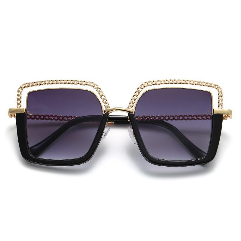 6 Colors Hollow Out Chain Metal Frame Square Sunglasses