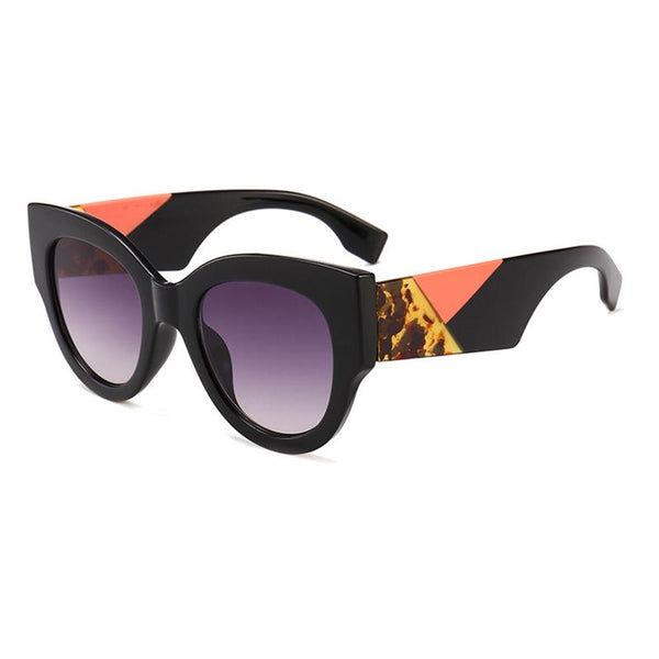 7 Colors Three-color Temple Retro Round Sunglasses