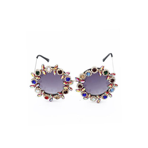 2 Colors Handmake Flower Diamond Round Sunglasses