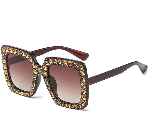 large frame diamond-studded square sunglasses