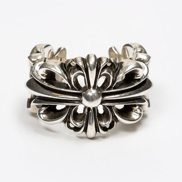 Double Cross Flower Floral Open Ring