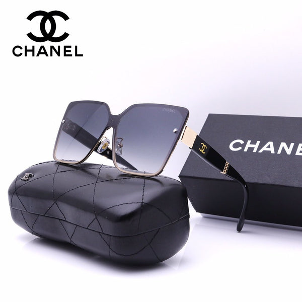 Metal gradient big frame letter sunglasses