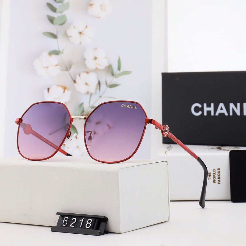 Six-color gradient trendy gold-studded glasses
