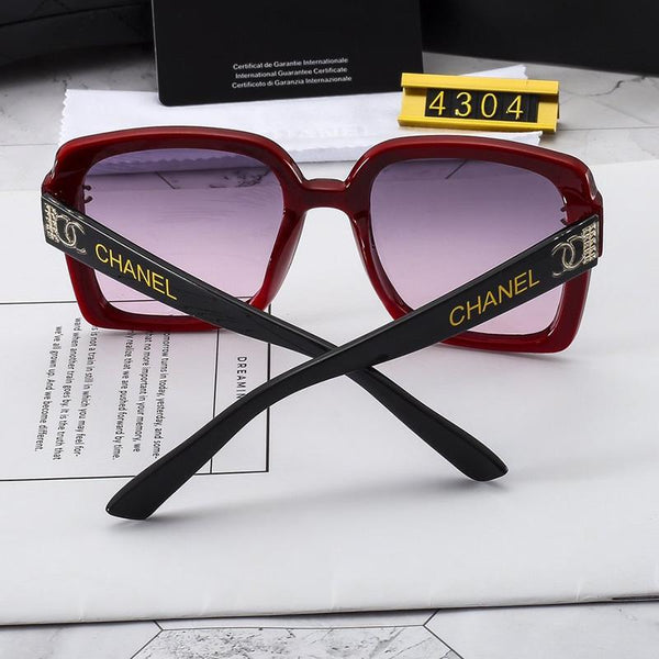 3 Colors Letter Wide Temple Sunglasses