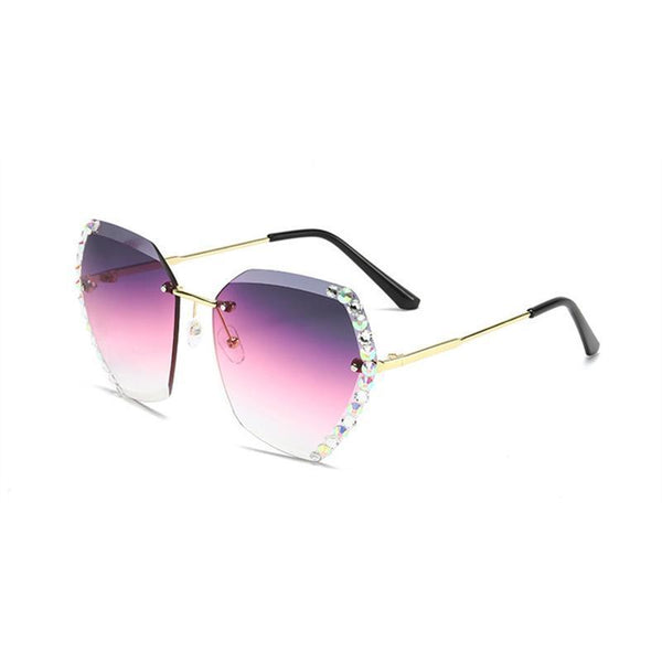 4 Colors Fashion Handmake Diamond Ocean Rimless Sunglasses