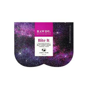 Pink and purple packaging of Bawdy Bite It butt sheet mask