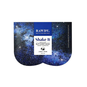 Blue packaging of Bawdy Shake It butt sheet mask