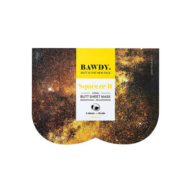 Yellow packaging of Bawdy Shake It butt sheet mask