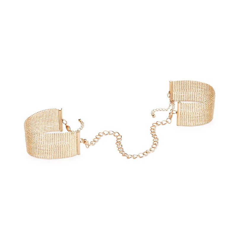 Gold mesh bracelets with chain to be worn as handcuffs