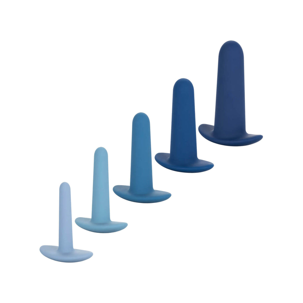 5 blue anal dilators of different sizes for sexual wellness