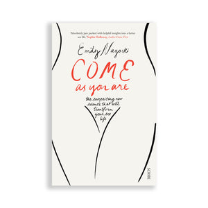 Book for sex positivity and woman empowerment with a white cover and a one-line female body illustration in black