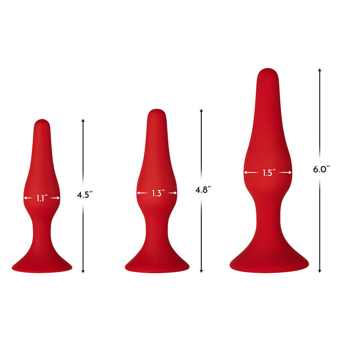 Three premium red silicone butt plugs for beginners in three sizes