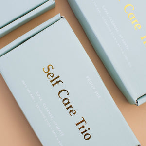 Blue Self Care Trio boxes for vegan and organic self-care