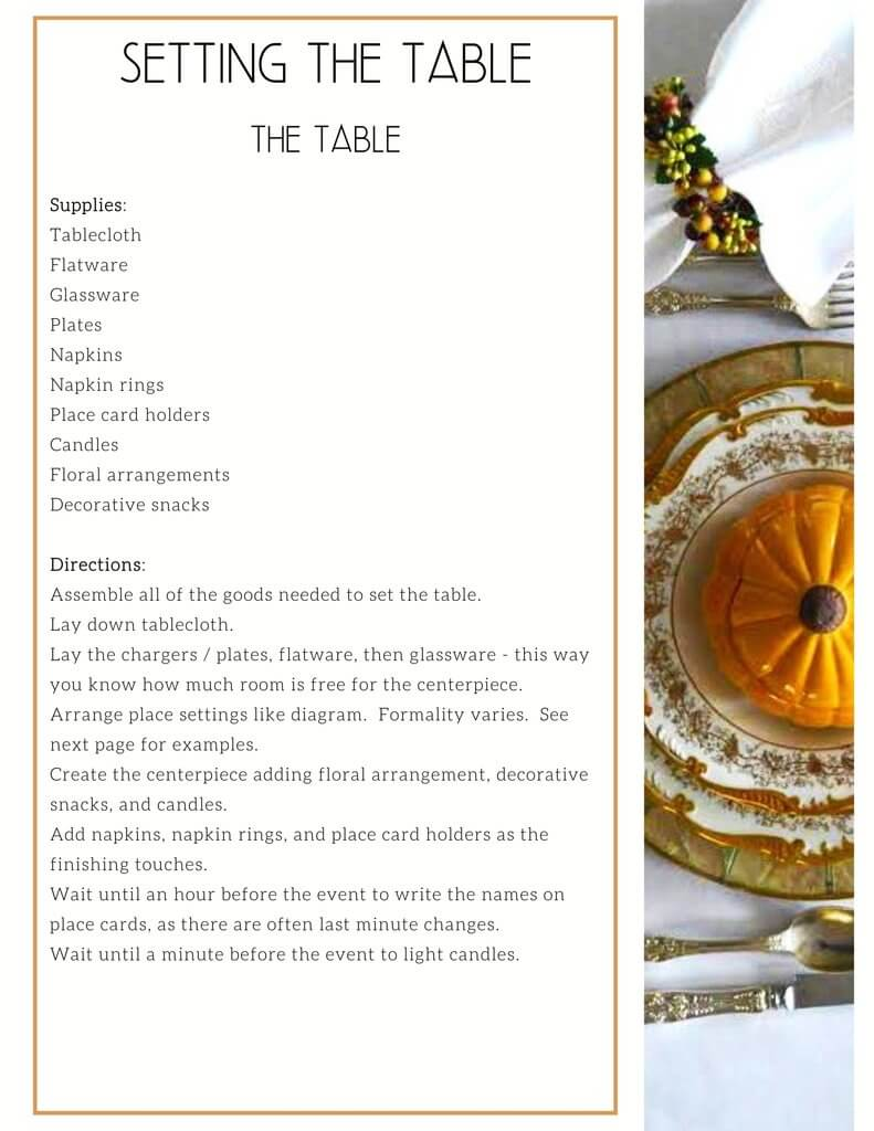 Procedure of Setting the Table