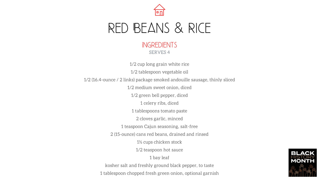 Recipe Packet, Red Beans & Rice and the Perfect Banana Pudding, Bed Bath & Beyond x Homemade: Black History Month Celebration