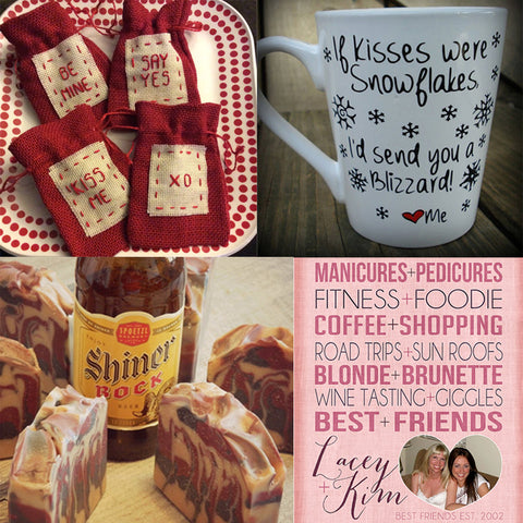 Valentine's Day Gift Collage: Burlap Bags, Mug, Beer Soap, Best Friends Print