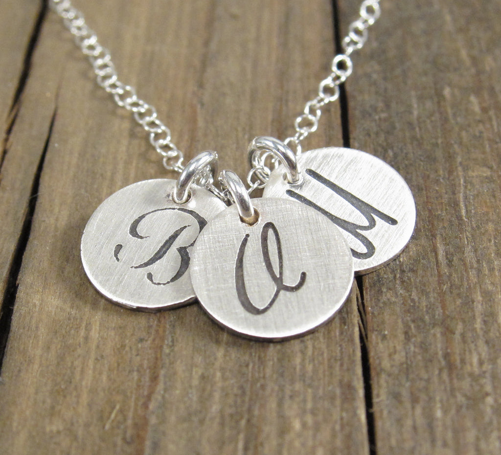 Tiny initial disc necklace emily jane designs tiny initial disc necklace mozeypictures Image collections