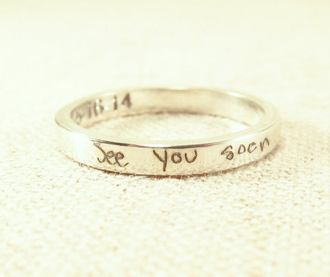 Actual Handwriting Ring - 3mm Band