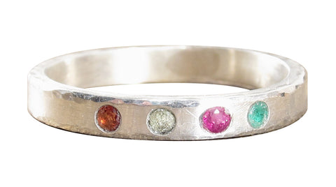 Multi Flush Set Birthstone Ring