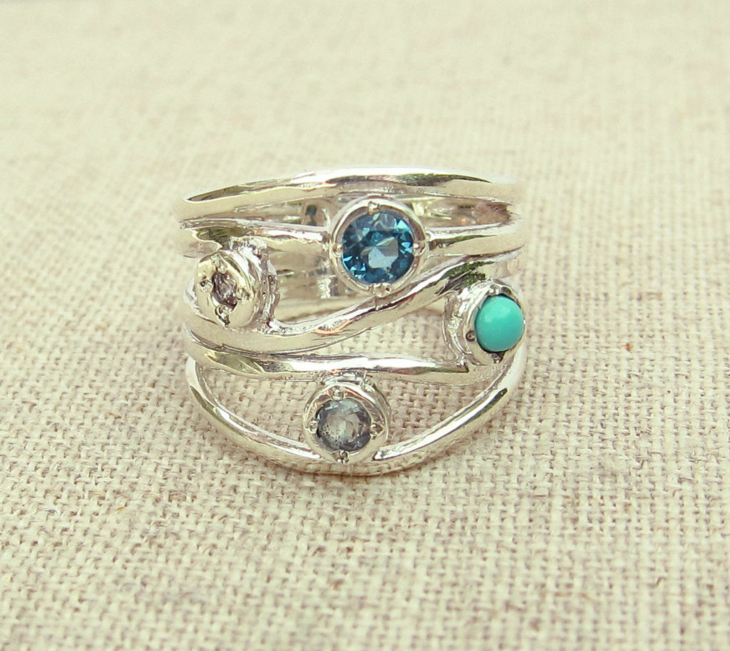 triple turquoise green stone long rings bc img ring silver shop size eagle
