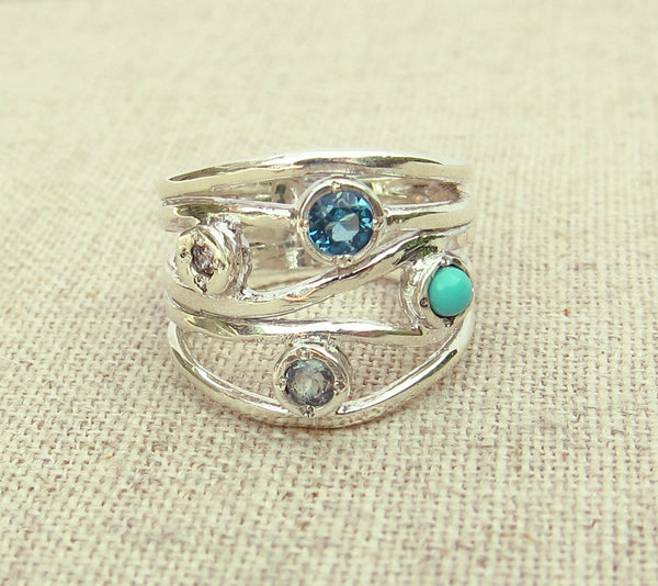 Blue Multistone  Ring