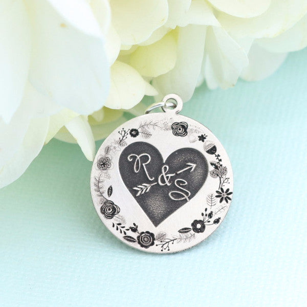 Floral Wreath with Heart Bouquet Charm