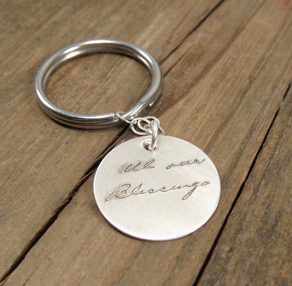 Actual Handwriting Disc Keychain