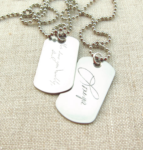 Dog Tag Necklace with Actual Handwriting