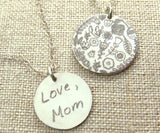 Actual Handwriting Necklace with Pattern