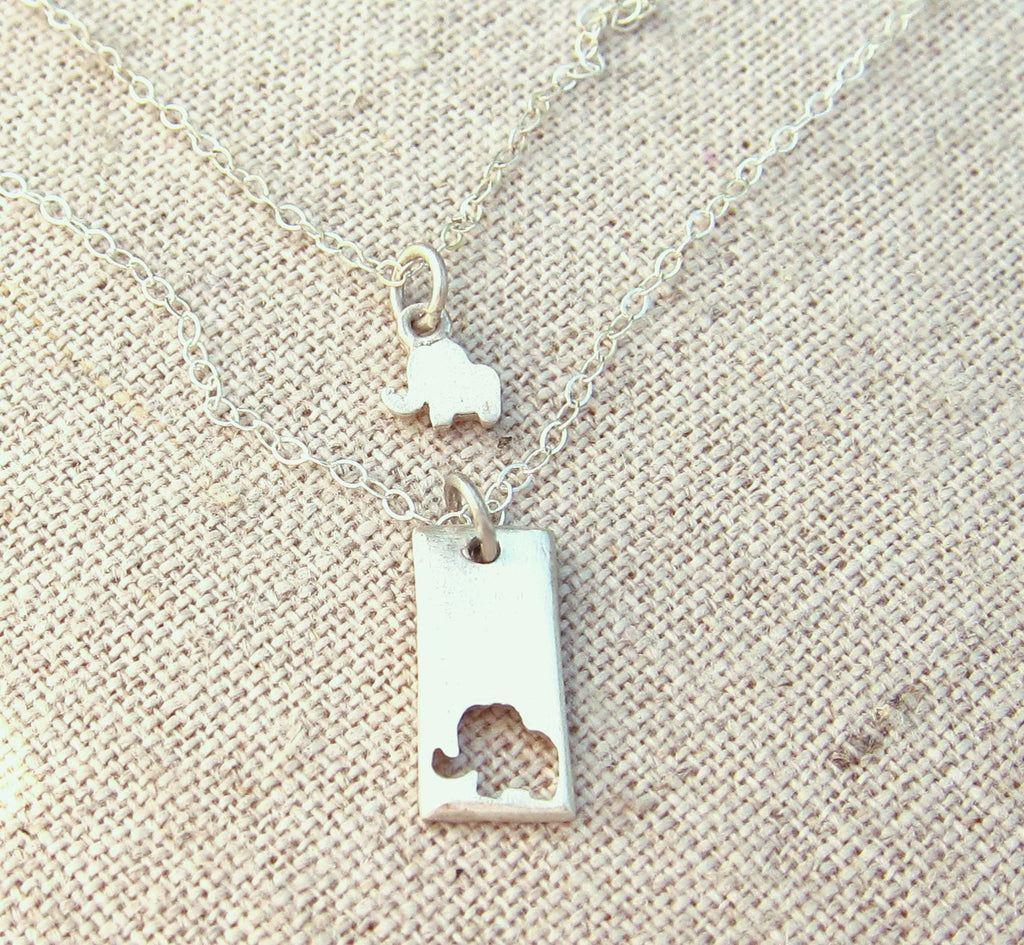 Little elephant mother daughter necklace set emily jane designs little elephant mother daughter necklace set aloadofball Images