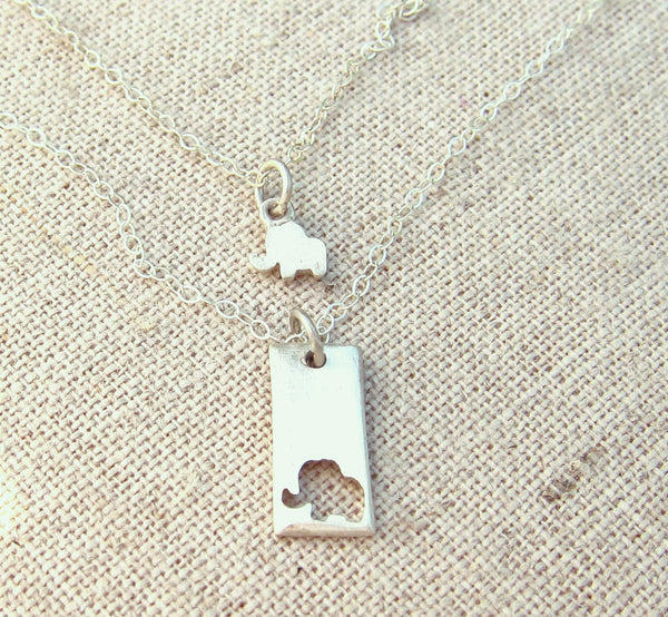 Little Elephant Mother Daughter Necklace Set
