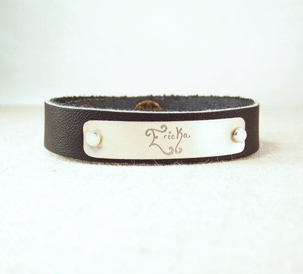 Personalized Leather Cuff Bracelet with Actual Handwriting