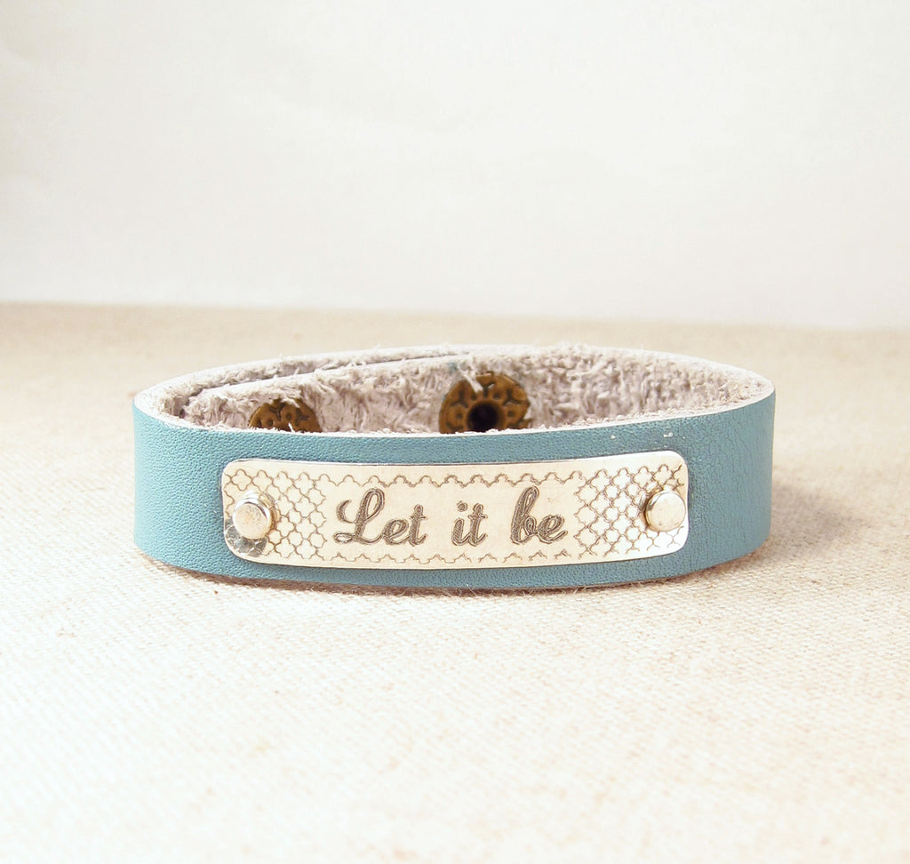 Personalized Leather Cuff Bracelet With Pattern Emily