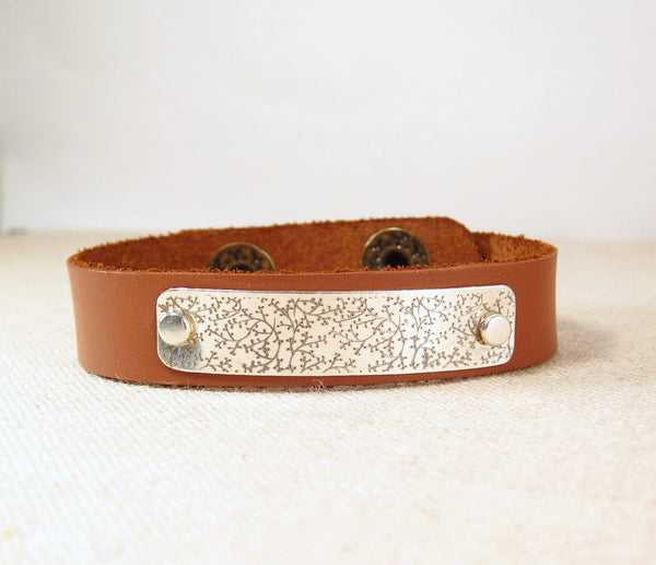 Leather Cuff Bracelet With Pattern Emily Jane Designs