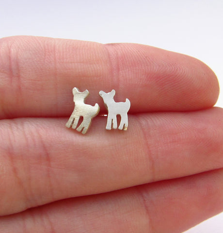 Little Fawn Sterling Silver Stud Earrings in Hand
