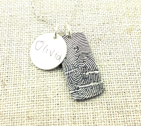 Fingerprint Rectangle and Disc Necklace