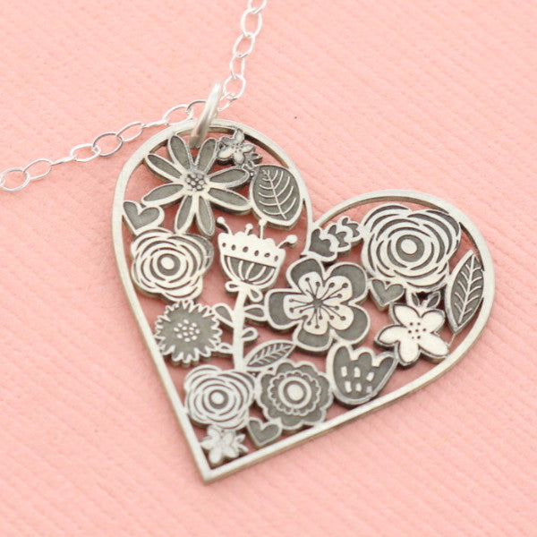 Flower Heart Cutout Necklace