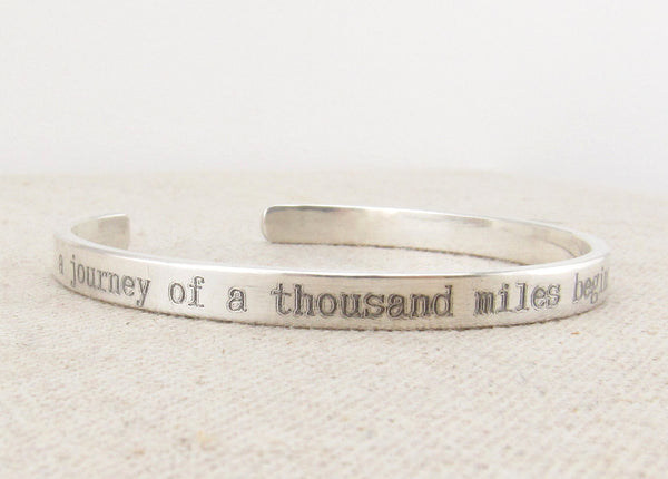 Personalized Thin Sterling Silver Cuff Bracelet